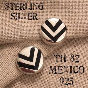 Sterling Silver Chevron Disc Button Clip Earrings